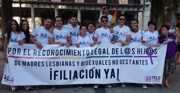 Maribel Blanco, en el centro de la pancarta