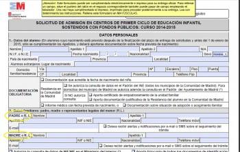 Formulario de la Comunidad de Madrid