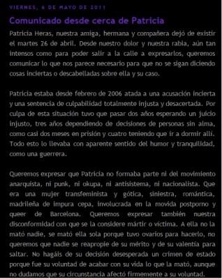 Entrada del blog de Patricia Herás tras su muerte