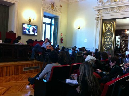 Imagen de los periodistas acreditados en el juicio, por @carmelarios