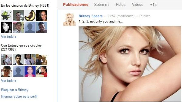 Perfil de Britney Spears en Google Plus