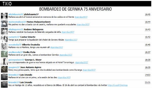 Tuits sobre el bombardeo de Gernika