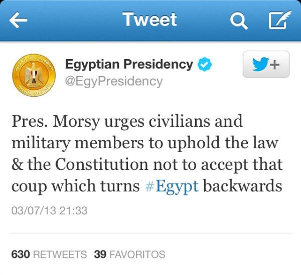 Tuit de la Presidencia de Egipto