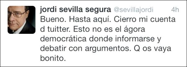 Tuit de Jordi Sevilla