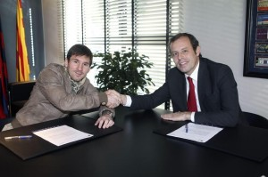 Leo Messi y Sandro Rosell