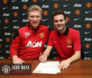 Juan Mata y David Moyes