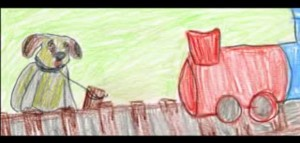 A Haatchi le abandonaron atándolo a una vía, perdió una pata y el rabo cuando pasó el tren. Dibujo de Owen.