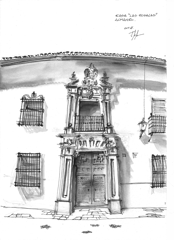 """Casa """"Los Rosales"""" en la plaza de Almagro, Ciudad Real. Dibujo Miguel Morea"""