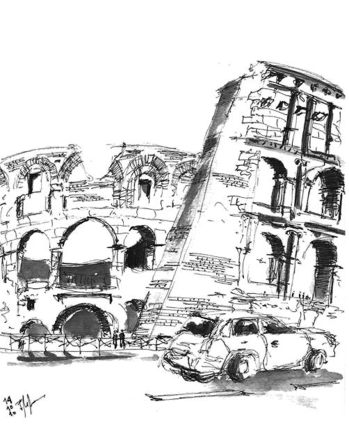 Coliseo aguada de tinta de un viaje a Roma en 2010
