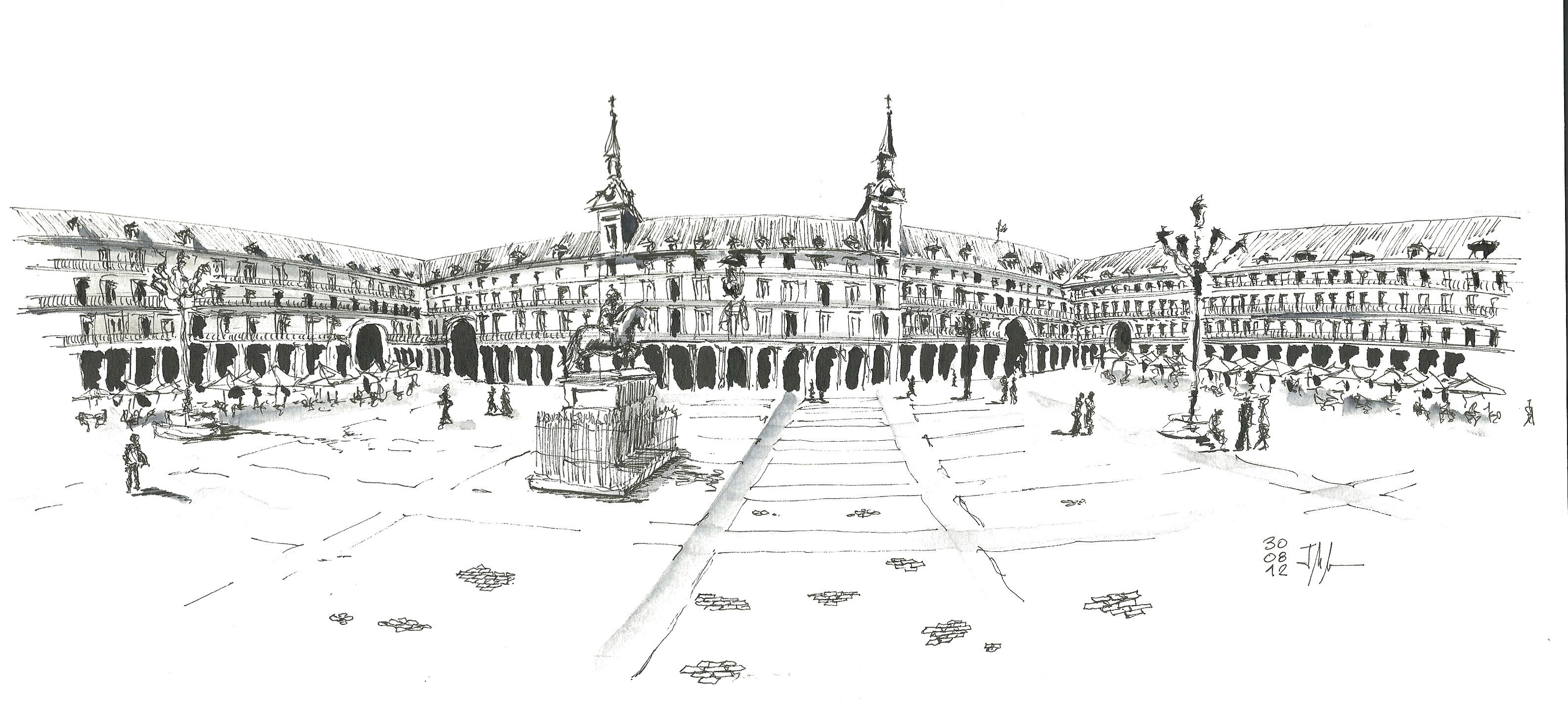 Plaza Mayor. Dibujo a tinta de Miguel Morea