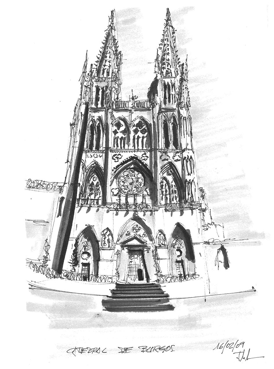 Boceto de la catedral de Burgos. Dibujo propio 2009