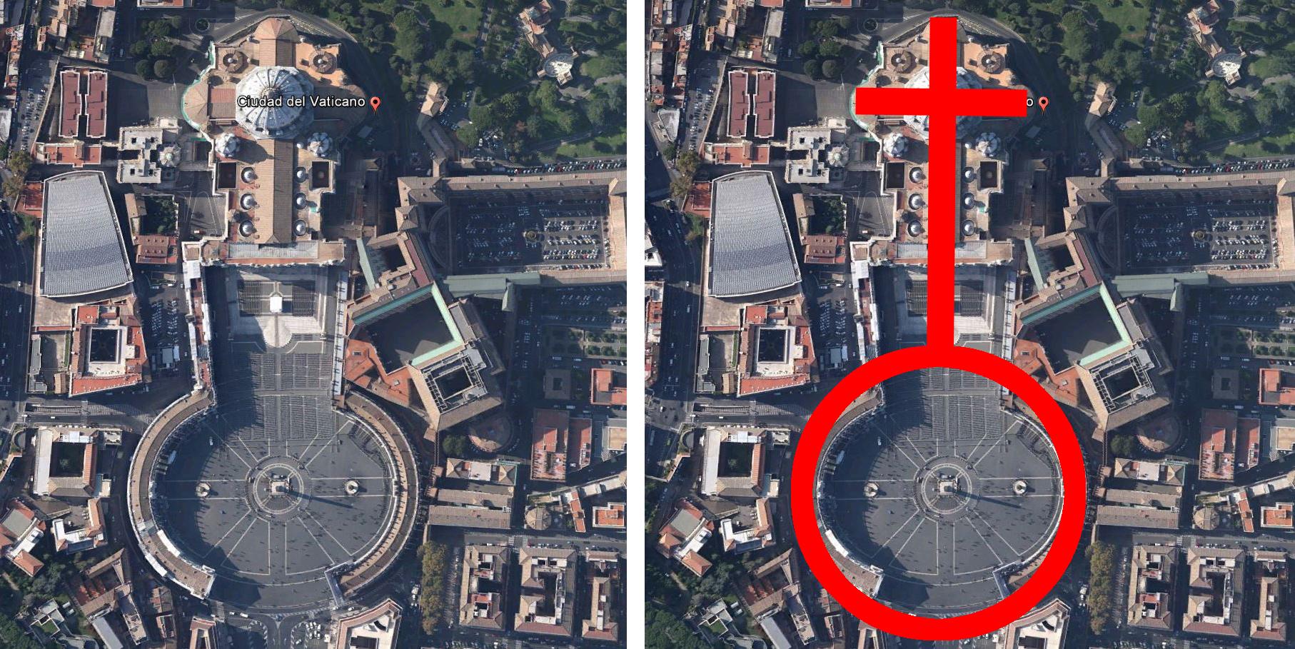 ¿Es la plaza de San Pedro un símbolo de feminidad? Montaje propio sobre captura Google earth