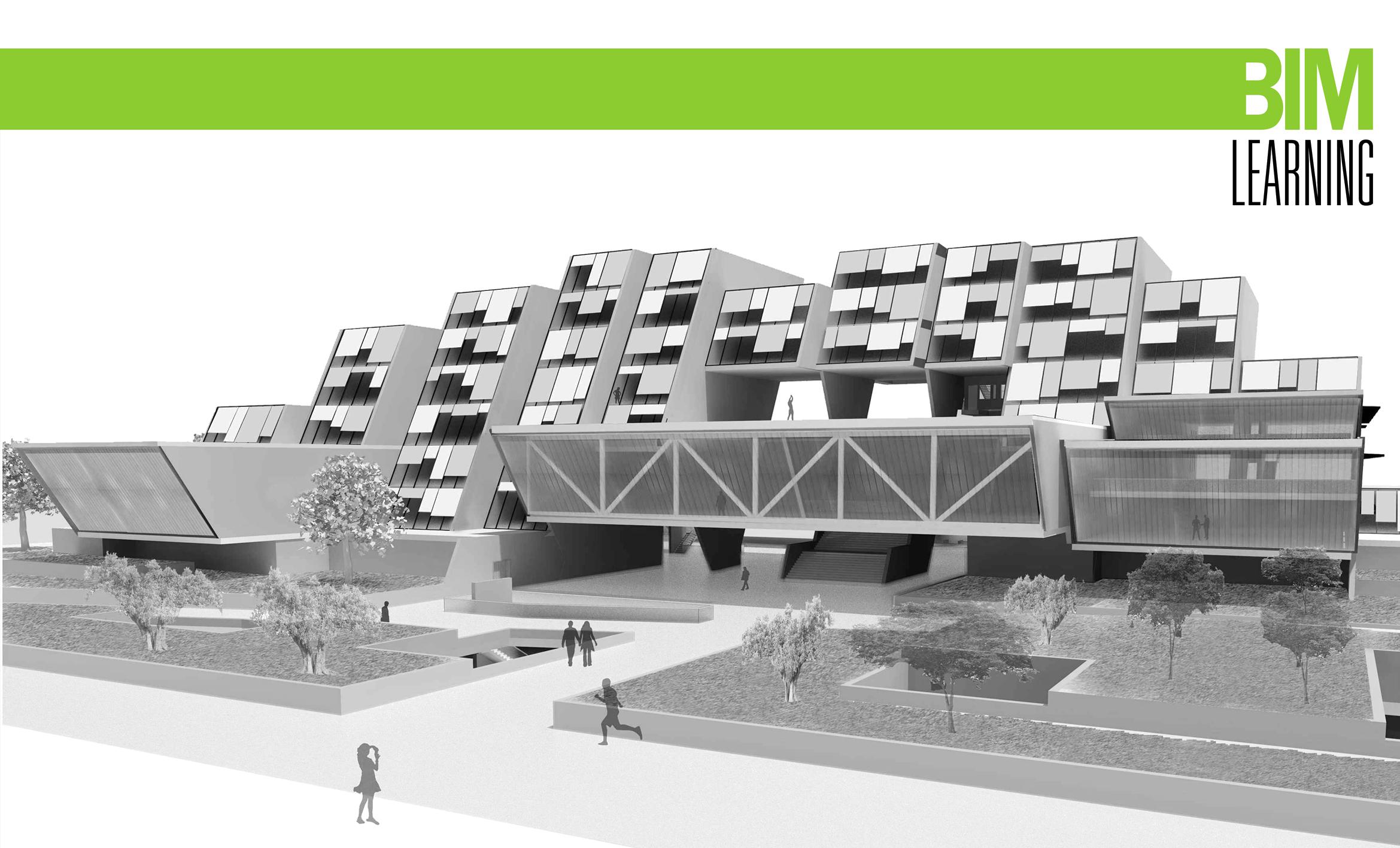 Modelización de edificio 3d hecho en BIM www.bimlearning.es