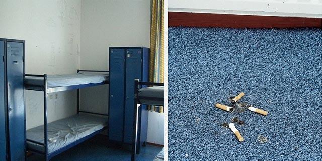 Una habitación estándar y detalle de la moqueta.