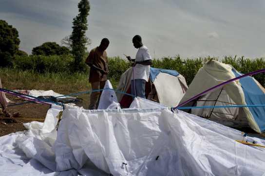 Desplazados de Léogane levantan una tienda para refugiarse.