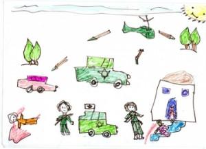 Dibujo realizado por una niña palestina de 9 años durante las sesiones de atención psicológica en el proyecto de de MSF en Hebrón (© MSF).