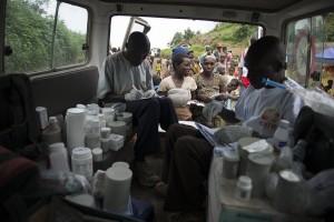 Clínica móvil de MSF en Nyabiondo, Kivu Norte (© Colin Delfosse)