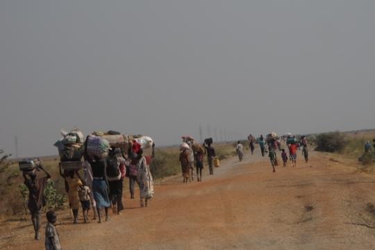 La Inseguridad en Sudán del Sur ha obligado a decenas de miles de personas a huir de sus hogares. MSF recorrió la carretera entre Bentiu y Leer para distribuir alimentos a entre 10.000-15.000 personas que huían de los combates.  © Jean-Pierre Amigo/MSF