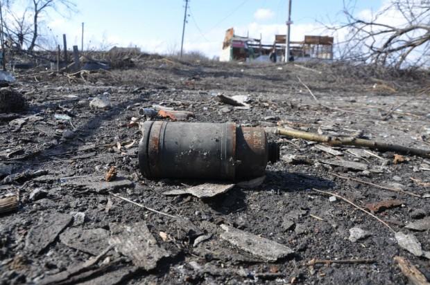 Restos de una bomba de racimo en Donetsk . (UNICEF Ukraine/2015)