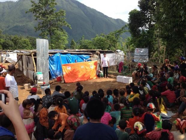Taller de promoción de higiene en un campamento de desplazados de Rasuwa.