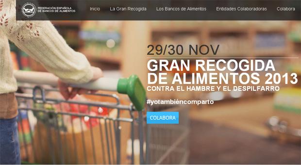 Campaña de recogida de alimentos. Página web de la Federación de Bancos de alimentos
