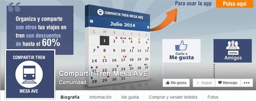 Aplicación de Facebook para comprar billete de mesa en el Ave.