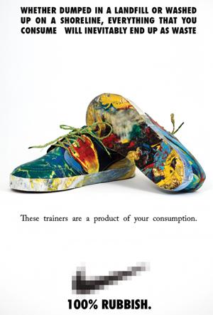 Zapatillas fabricadas con basura
