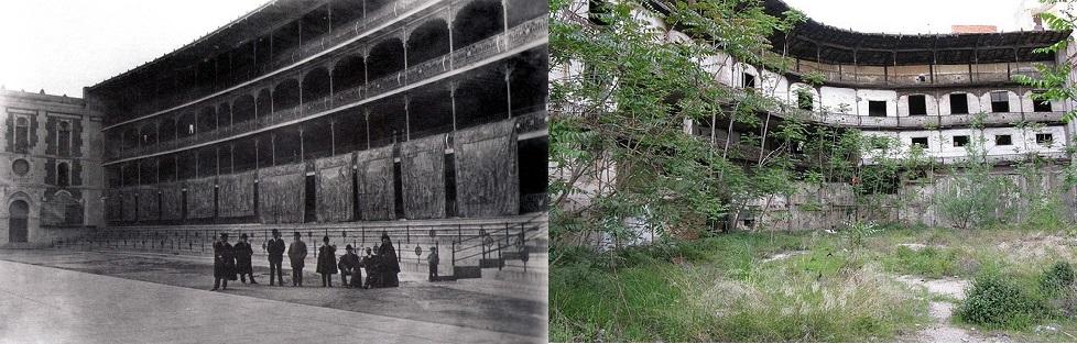 El frontón Beti Jai en 1900 y en la actualidad. //Fuente: urbanity.es y euskalkultura.com