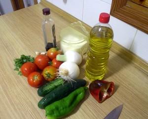 Ingredientes para el gazpacho, plato típico de la dieta mediterránea.
