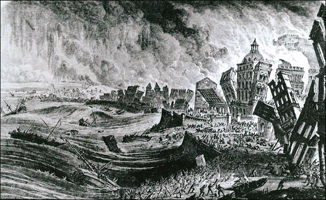 Grabado que refleja la devastación que causó el tsunami en Lisboa / Wkipedia