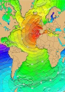 Gráfico que ilustra la expansión de las olas del maremoto de 1755 /Wikipedia