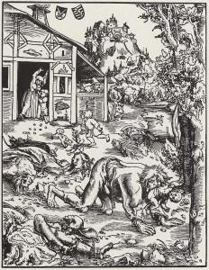 'Werwolf' . Los hombres-lobo o la licantropía, así como las brujas o hechiceras, fueron relacionados con estados de la locura desde tiempos clásicos. Werwolf de Lucas Cranach the Elder - Gotha, Herzogliches Museum (Landesmuseum).