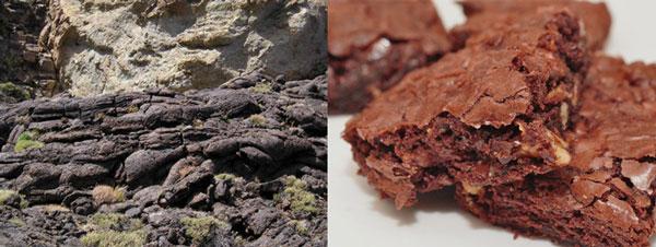 Colada de basalto. Tenerife/B. Galán  Brownie de chocolate/Wikipedia