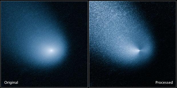 A la izquierda, la imagen original del cometa C/2013 A1 Siding Spring tomada por el telescopio espacial 'Hubble'. A la derecha, la imagen procesada muestra dos chorros de polvo expulsados por el núcleo. NASA, ESA, and J.-Y. Li (Planetary Science Institute)