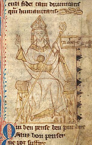 Un retrato de Robert Grosseteste del siglo XIII.