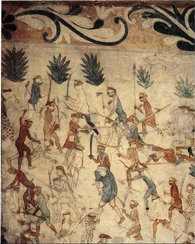 La pintura Segesser II, sobre piel de bisonte, retrata la batalla de la Expedición Villasur.