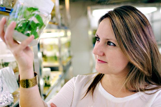 La investigadora Selena Giménez-Ibáñez, en el Centro Nacional de Biotecnología. Foto: Julio Hernández.