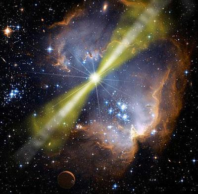 Ilustración del Brote de Rayos Gamma GRB 080319B, detectado en 2008, con dos rayos en direcciones opuestas. NASA.