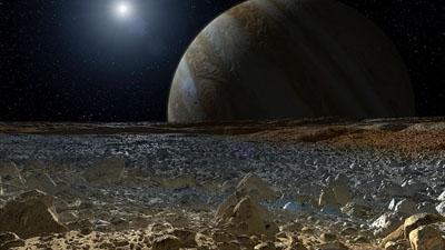 Ilustración de Júpiter desde la superficie helada de su luna Europa. NASA/JPL-Caltech.