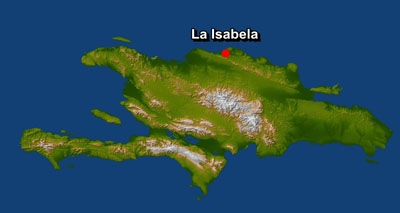 Localización de La Isabela en una imagen de satélite de la isla de La Española. NASA.