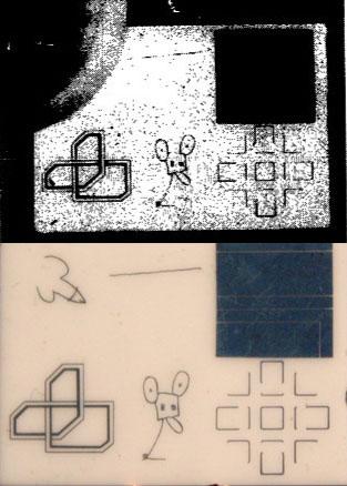 Museo Lunar. Arriba, la fotografía que apareció en el diario 'The New York Times', con el dibujo de Andy Warhol oculto por un pulgar. Abajo, la obra completa. Desde el diseño de Warhol, en sentido de las agujas del reloj, obras de Robert Rauschenberg, David Novros, John Chamberlain, Claes Oldenburg y Forrest Myers.