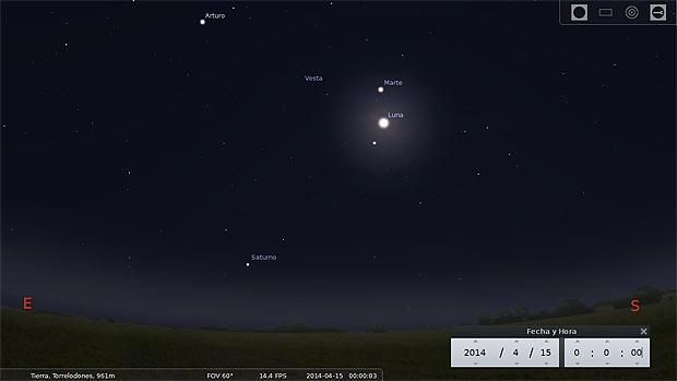 Ilustración de la vista hacia el sureste a las 00:00 horas del 15 de abril. Marte se sitúa más arriba de la Luna. Abajo, cerca del horizonte, aparece Saturno. Captura de pantalla de Stellarium.