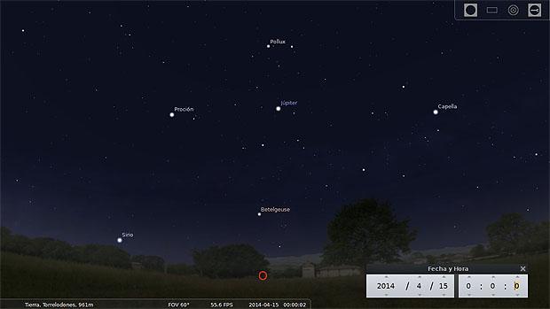 Ilustración de la vista hacia el oeste a las 00:00 horas del 15 de abril. Júpiter aparece en el centro de la imagen. Captura de pantalla de Stellarium.