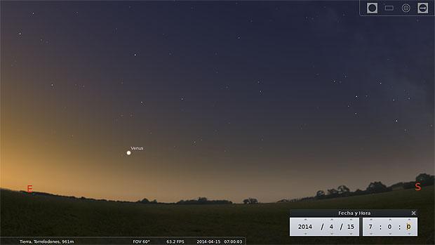 Ilustración de la vista hacia el sureste a las 7:00 de la mañana del martes 15 de abril. Venus amanece sobre el horizonte. Captura de pantalla de Stellarium.