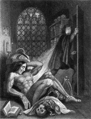 Grabado de Theodore Von Holst para la edición de 1831 de 'Frankenstein', de Mary Shelley.