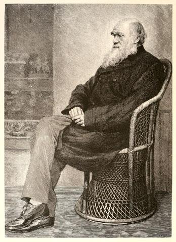 Dibujo a partir de una fotografía de Charles Darwin, publicado en el primer volumen de una biografía editada por su hijo Francis Darwin (1891).
