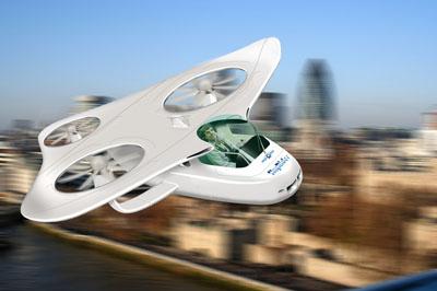Concepto artístico de un vehículo aéreo personal (PAV). myCopter.