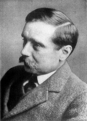 El escritor inglés H. G. Wells, hacia 1916. Gutenberg.org.