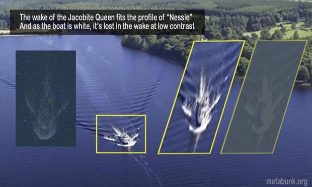 Comparación de la presunta imagen de Nessie con la estela de un barco. Debunk.org.