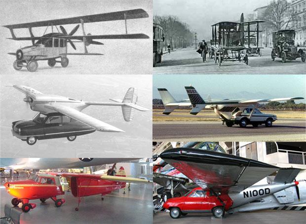 Modelos históricos de coches voladores. De izquierda a derecha y de arriba abajo, el Curtiss Autoplane (1917), el Tampier (1921), el Convaircar (1947), el AVE Mizar (1973), el Fulton Airphibian (1946) y el Aerocar (1949). Imágenes de Flight Magazine 1917, roadabletimes.com, Convair, Doug Duncan, FlugKerl2, Ciar.
